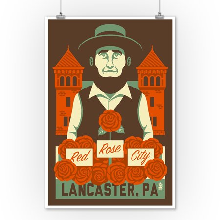 Lancaster City Halloween (Lancaster, Pennsylvania - Red Rose City - Lantern Press Artwork (9x12 Art Print, Wall Decor Travel)