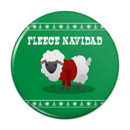 "Fleece Feliz Navidad Sheep Christmas Holiday  Pinback Button Pin Badge - 1"" Diameter"