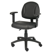 Boss Office & Home LeatherPlus Adjustable Computer Desk Chair, Black