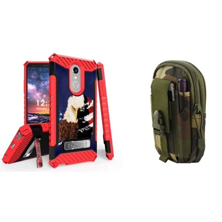 BC Military Grade Shockproof [MIL-STD 810G-516.6] Kickstand Case (Patriot Eagle) with Jungle Camo Tactical EDC MOLLE Utility Waist Pack Holder Pouch, Atom Cloth for LG Stylo 4+ Plus/LG Stylo 4 (2018) (Bc Rich Eagle)