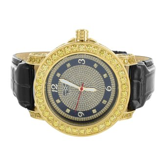 Canary Lab Created Cubic Zirconia Watch Mens Khronos Techno Bling KC Diamond Dial Black Leather