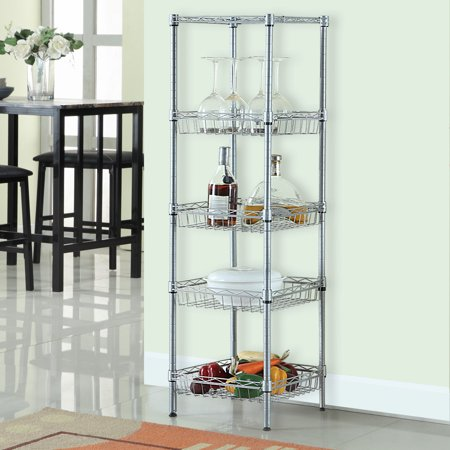 Wired Shelving | Langria 5 Tier Wire Metal Shelving Unit With Baskets Sliver 13 4 In