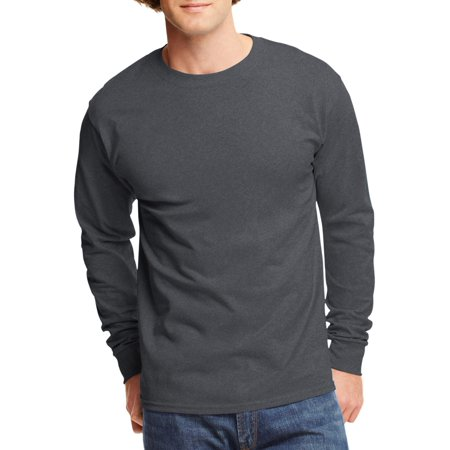 Mens Tagless Cotton Crew Neck Long-Sleeve Tshirt Cock Ash Grey T-shirt