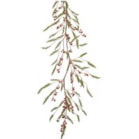 Set of 2 Green Pines with Red Berry Garlands - Unlit 5'