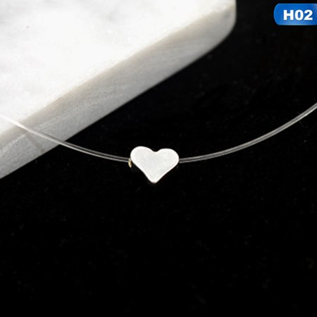 AkoaDa Women Star Pendant Necklace Choker Invisible Transparent Fishing Line Grateful