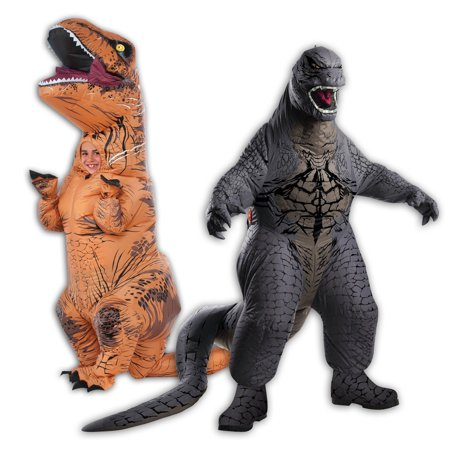 Inflatable Child T-Rex and Child Godzilla Costume Bundle (Godzilla Halloween)