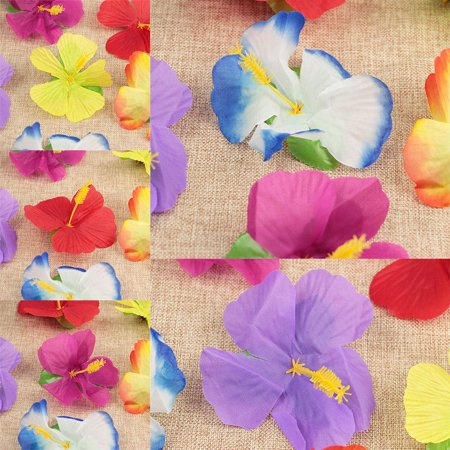 72x Luau Tropical HAWAIIAN SILK Hibiscus Flowers Decorations POOL BEACH PARTY (Hawaiian Party Decoration)