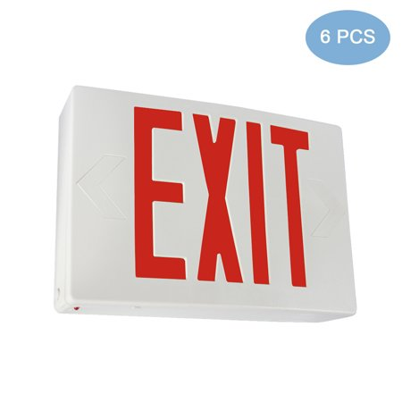 Fully Automatic Operation (eTopLighting [6 Pack] LED Exit Sign Emergency Light, Red Letter, Battery Back-up, Extra Face Plate Included, Fully Automatic Operation, Ceiling or Wall Mounting, Side Mounting, WMLS4351 )