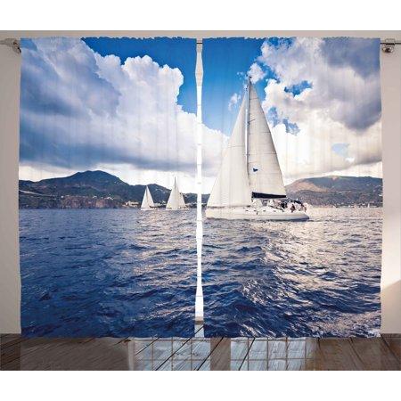Nautical Curtains 2 Panels Set Sailing Boat And White Sails On Sea Waves With Cloudy