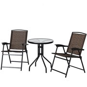 Topbuy 3 PCS Furniture Set Patio Garden Courtyard Table Folding Chairs Glass Table Top