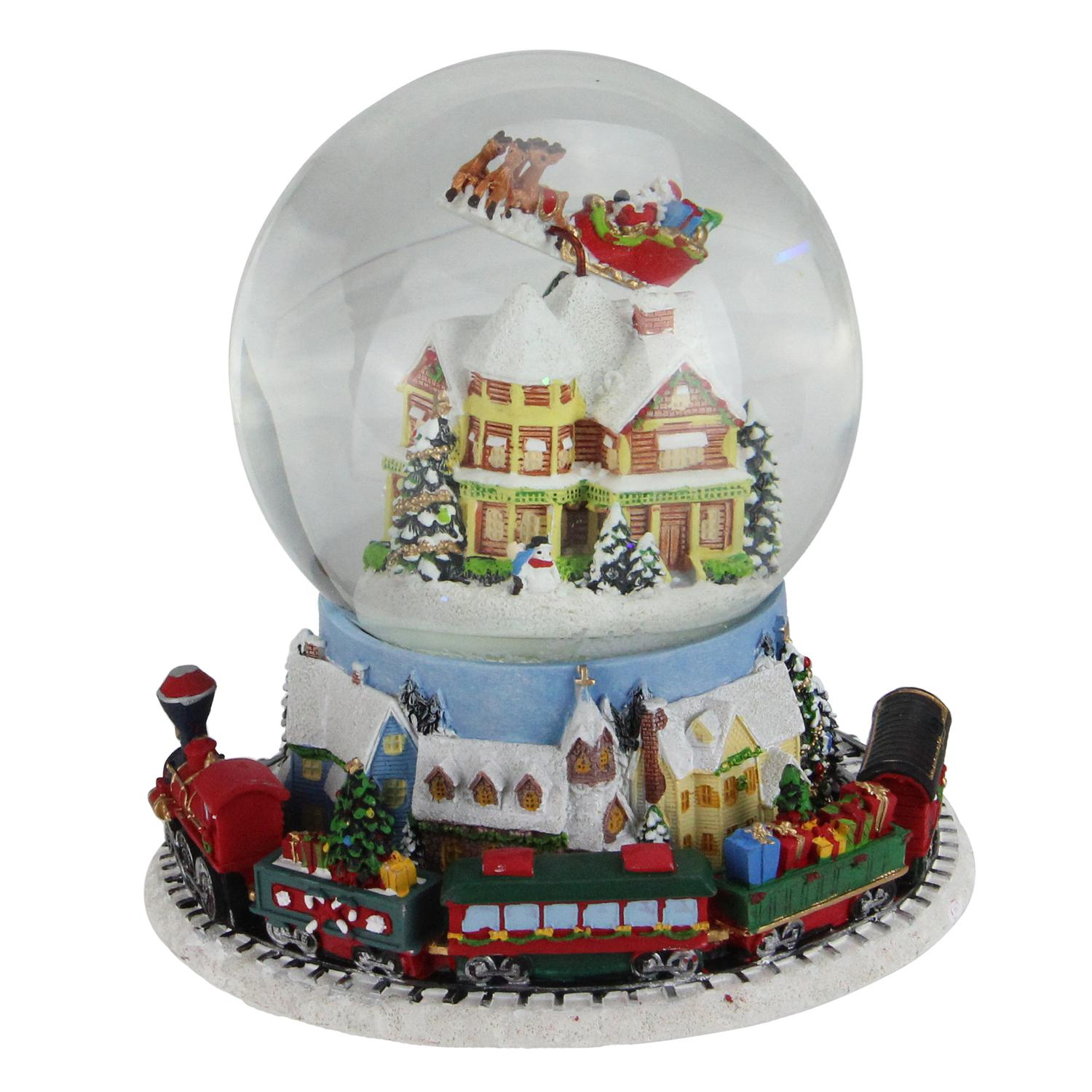 "7.25"" Musical Revolving House with Santa and Train Christmas Glitterdome Decoration"