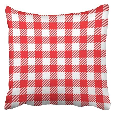 Plaid Breakfast Pillow (ARHOME Red Gingham Retro Blue Picnic Plaid Breakfast White Basket Vintage Country Pillow Case Cushion Cover 20x20 inch )