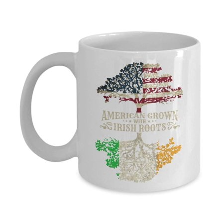 Irish Porcelain Kitchen - American Grown With Irish Roots Flag Of America & Ireland Tree Art Coffee & Tea Gift Mug Cup, Home Décor, Kitchen Table Accessories, St. Patrick's Day Gifts, Party Decorations & Items For Men & Women