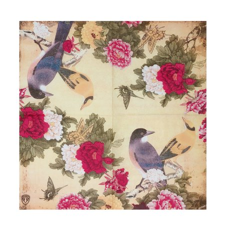 Wrapables® Floral 2 Ply Paper Napkins (40 Count) for Wedding, Dinner Party, Tea Party, Decorative Decoupage, Birds Red - Tea Party Party Supplies