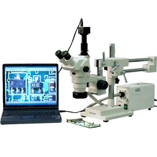 AmScope ZM-4TW3-FOR-3M 2X-225X Trinocular Stereo Boom Microscope, 3Mp Camera
