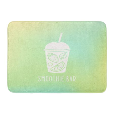 GODPOK Hand Green Juice Smoothie Bar Cup to Go with Fruits Orange Drawn Beverage Rug Doormat Bath Mat 23.6x15.7