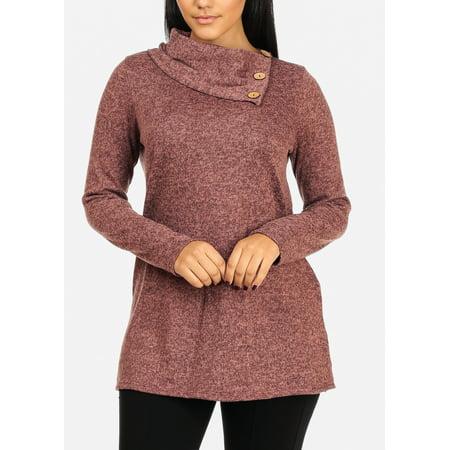 ccbde0f9926af ModaXpressOnline - Womens Juniors Pink Long Sleeve Cowl Neckline Cozy  Stretchy Slip On Sweater Top W Button Design 30546P - Walmart.com