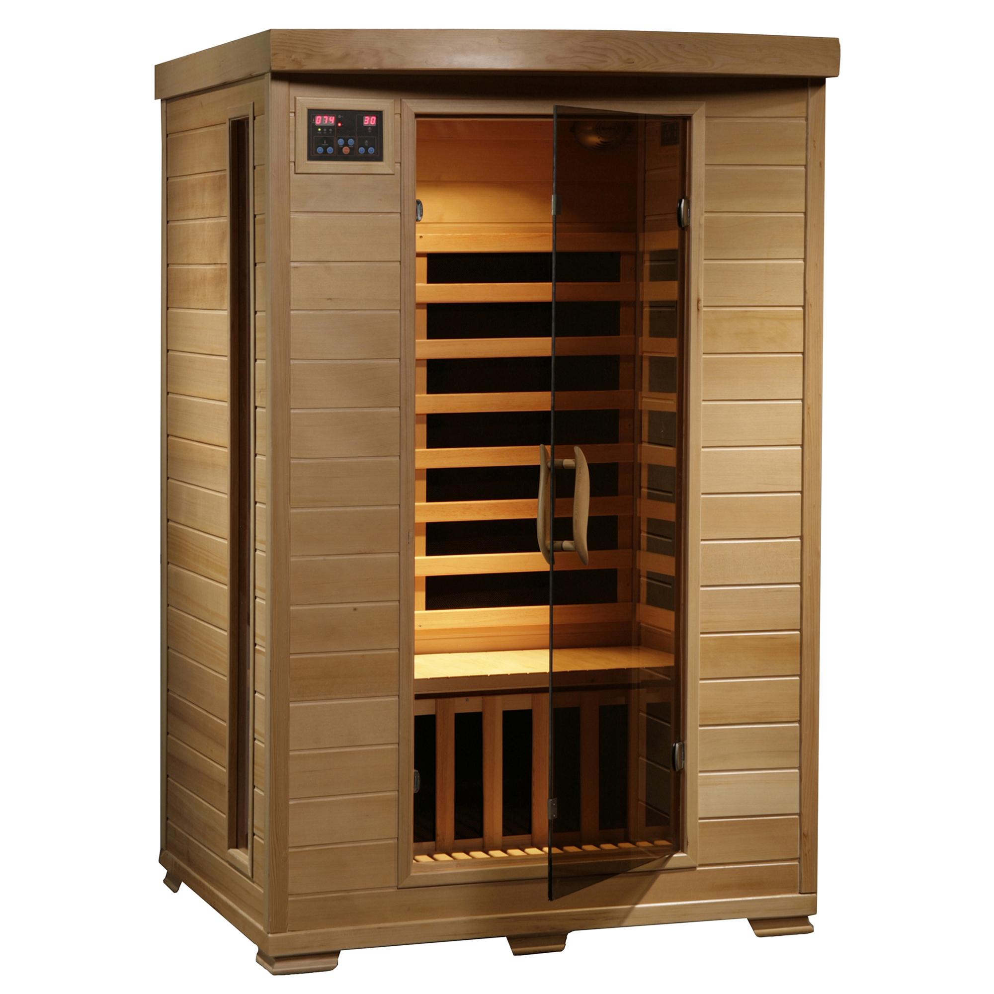 Radiant Saunas 2-Person Hemlock Deluxe Infrared Sauna w  6 Carbon Heaters by Blue Wave