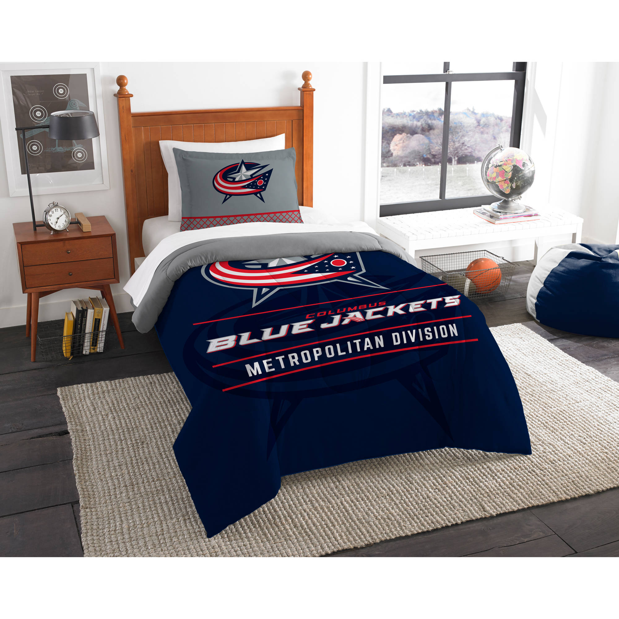 "NHL Columbus Blue Jackets ""Draft"" Bedding Comforter Set"