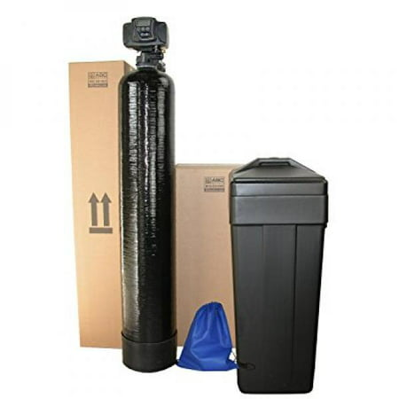 ABCwaters Built Fleck 5600sxt 48,000 Black WATER SOFTENER w/UPGRADED IRON REMOVAL + Hardness Test + Install Kit - IRON MAN