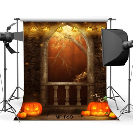 Halloween Horror Nights Doors Open (MOHome Polyster 5x7ft All Saints' Day Backdrop Halloween Horror Night Hallowmas Pumpkin Lamp Black Cat Skulls Arch Door Gothic Masquerade Photography Background Kids Adults Photo Studio)