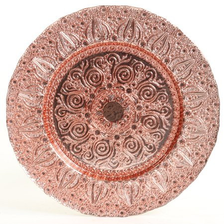 Koyal Wholesale Bulk Morocco Glass Charger Plates, Set of 4, Rose Gold