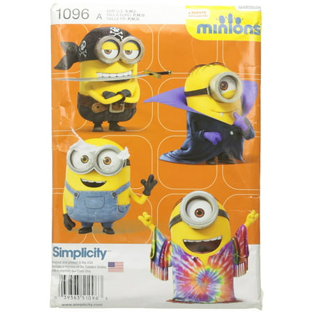 US1096A Childs Minion Costumes, Size A (S-M-L), Designed and manufactured in the USA By Simplicity Creative Patterns