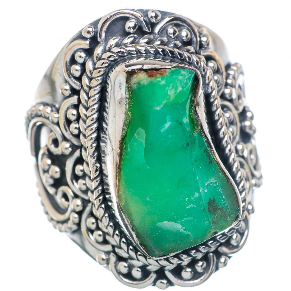 Ana Silver Co Rough Chrysoprase Ring Size 7 (925 Sterling Silver) Handmade Jewelry RING898490 by Ana Silver Co.