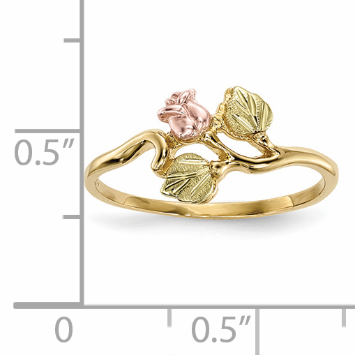 10K Yellow Gold Tri Color Black Hills Gold Rose Ring - image 4 of 5