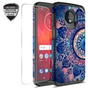 Moto Z3 Play Case With Tempered Glass Screen Protector, KAESAR Slim Hybrid Dual Layer Graphic Fashion Colorful Cover Armor Case for Motorola Moto Z Play 3rd Generation (Mandala)