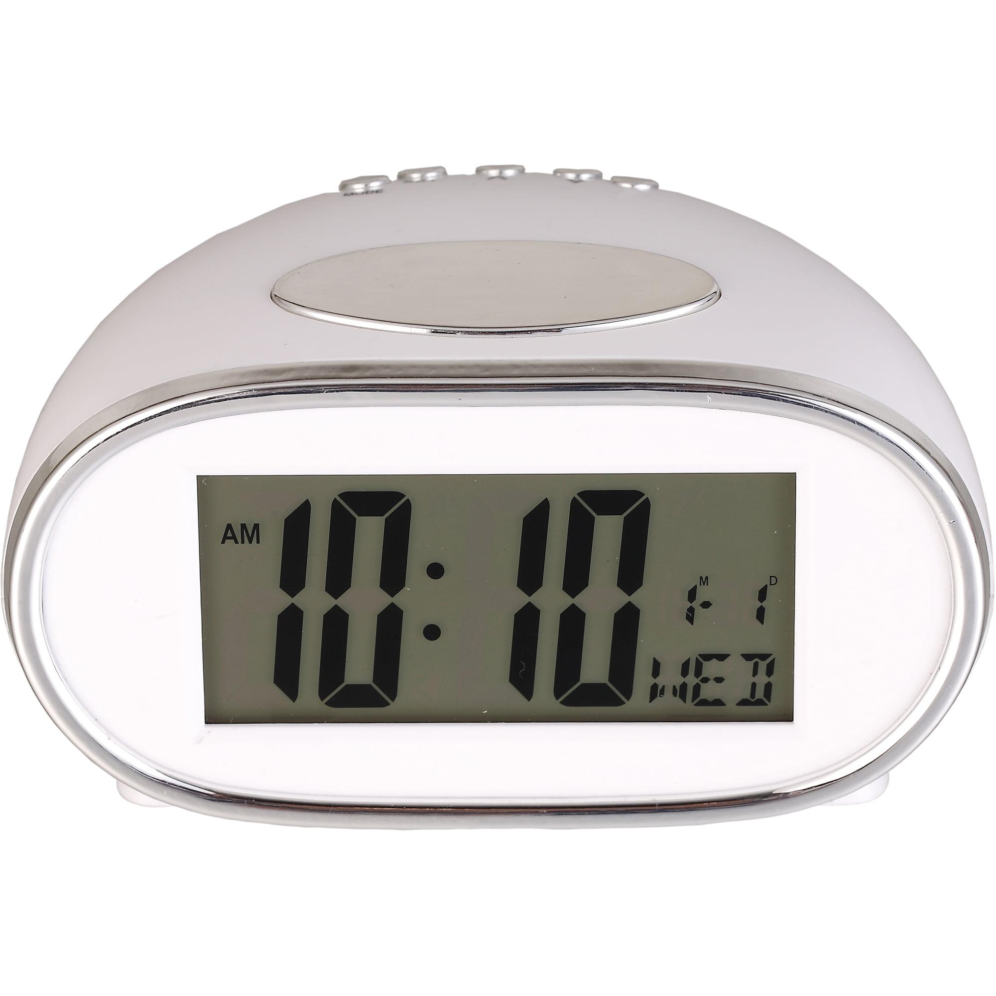 Mainstays white digital battery operated alarm clock walmart amipublicfo Gallery