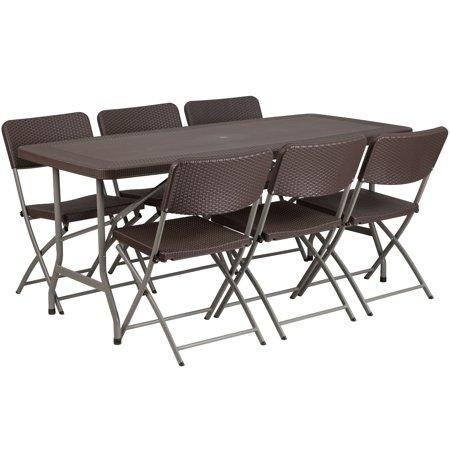 Lancaster Home 32 5 Inch Wide X 67 Long Rattan Plastic Folding Table Set