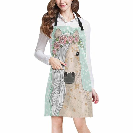 Horse Apron (ASHLEIGH Funny Horse with Flowers Fairytale Chef Kitchen Apron, Adjustable Strap Waist Ties, Front Pockets, Perfect for Cooking, Baking,)