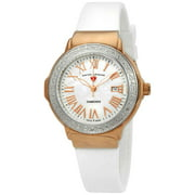 20032Dsm-Rg-02-Sb-Wht South Beach Diamonds White Silicone And Mop Dial Rose-Tone Ss Case Watch