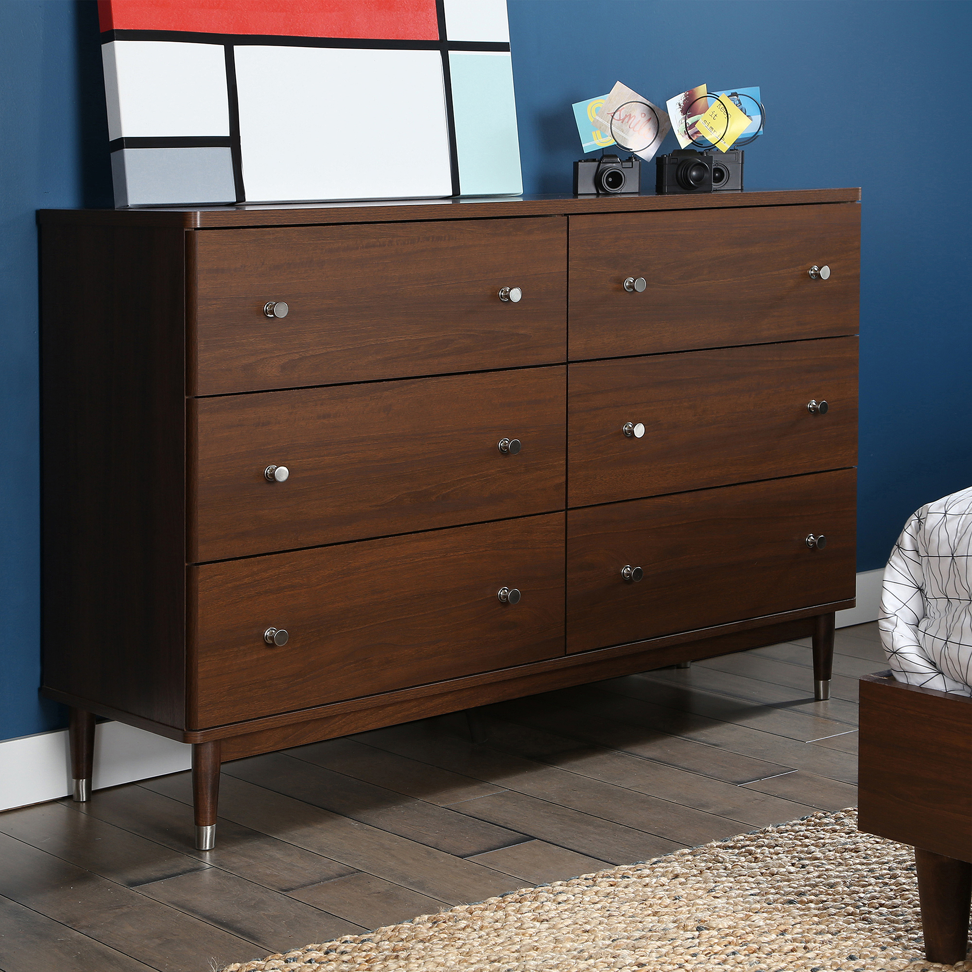 south shore olly midcentury modern drawer double dresser brown  - south shore olly midcentury modern drawer double dresser brown walnut walmartcom
