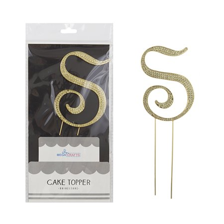 Halloween Crafts For Birthday Parties (Mega Crafts - Sparkly Gold Rhinestone Letter S Cake Topper Decoration | Shimmering Gold Crystals & Durable Alloy Metal | For Birthdays, Anniversaries, Centerpieces, Party Favors,)