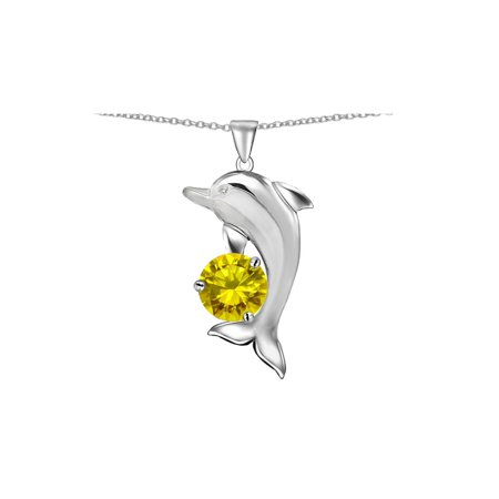 Star K Round 7mm Simulated Citrine Good Luck Dolphin Pendant Necklace in Sterling Silver