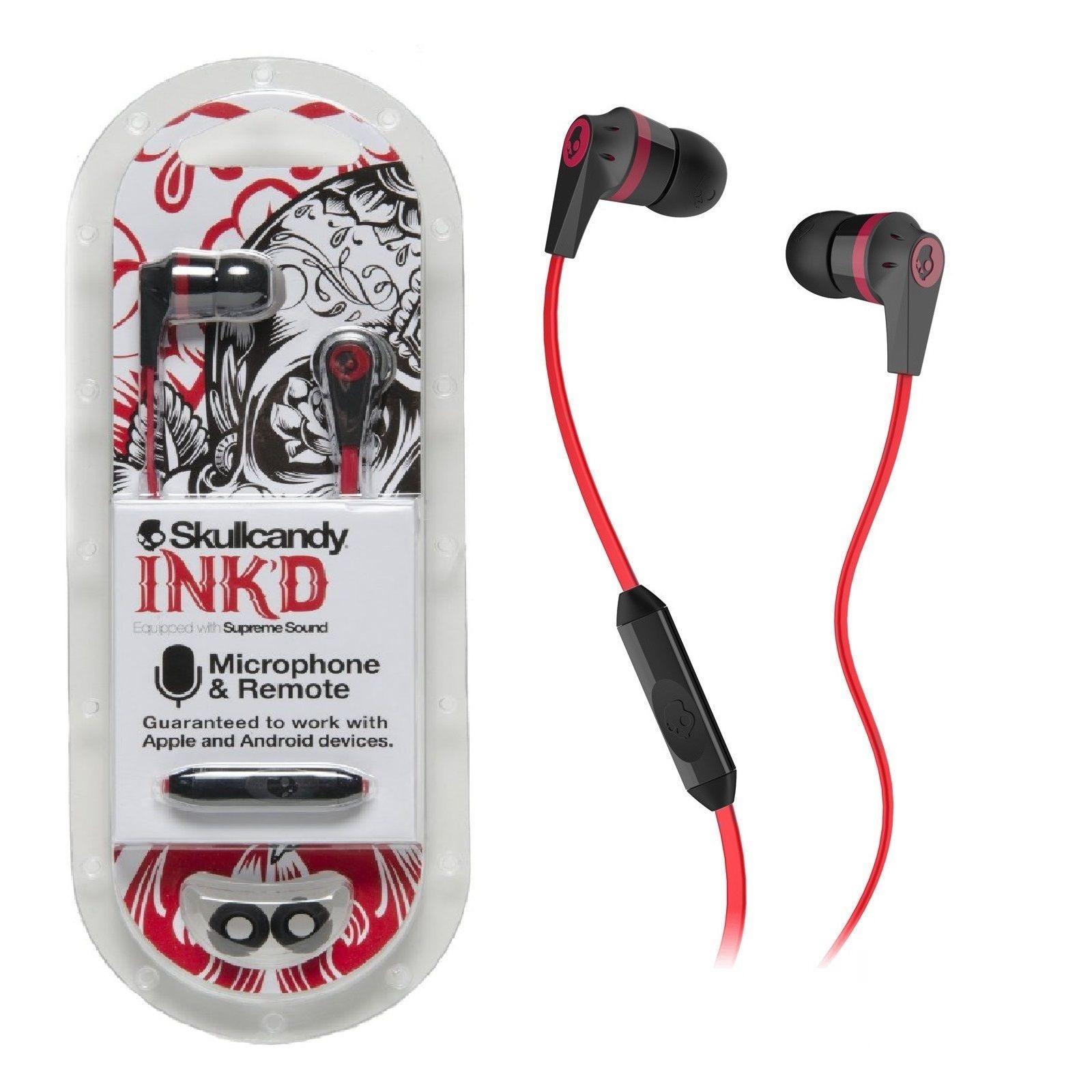 Skullcandy red / Black S2IKDY-010 3.5mm Connector Ink'd 2.0 Earbud Headphones with Mic