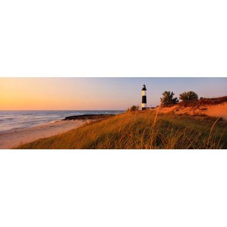 Big Sable Point Lighthouse at dusk Ludington Mason County Michigan USA Poster Print by Panoramic (Big Sable Lighthouse)
