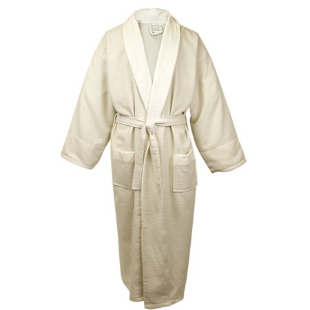 Shawl Collar Waffle Robes (100% Turkish Cotton Men Waffle Robe with Velour Shawl (Beige, One Size))
