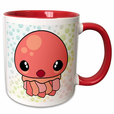 3dRose Cute Kawaii Pink Jellyfish Cartoon Character With Color Bubbles Background - Two Tone Red Mug, 11-ounce (Kawaii Halloween Background)