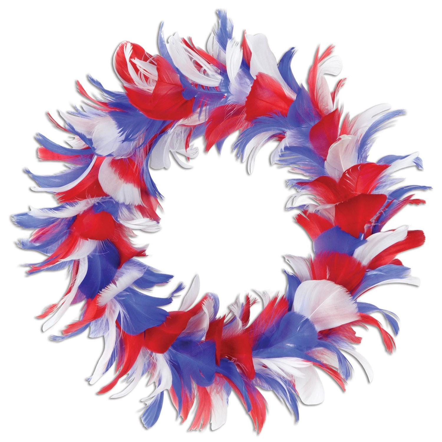 """Pack of 6 Red White and Blue Patriotic Decorative Party Feather Wreath 8"""""""