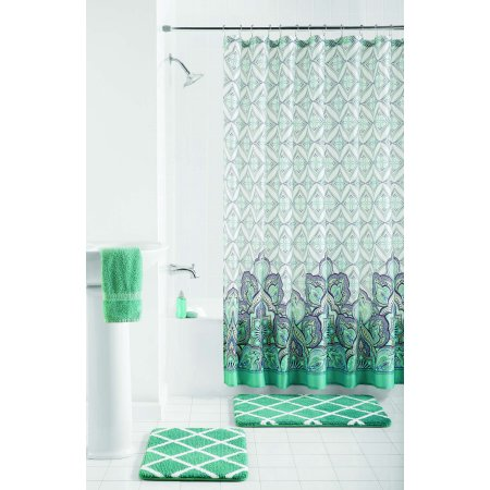 Mainstays Pandora Bathroom Set with Shower Curtain & Bath Rugs, 15