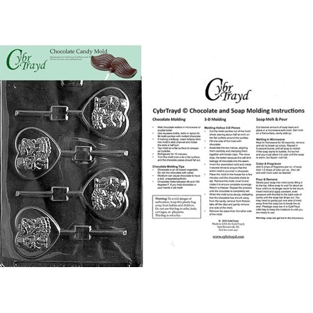 Bride And Groom Bears On Heart Chocolate Candy Mold with Exclusive Cybrtrayd Copyrighted Molding - Groom Glass Bears