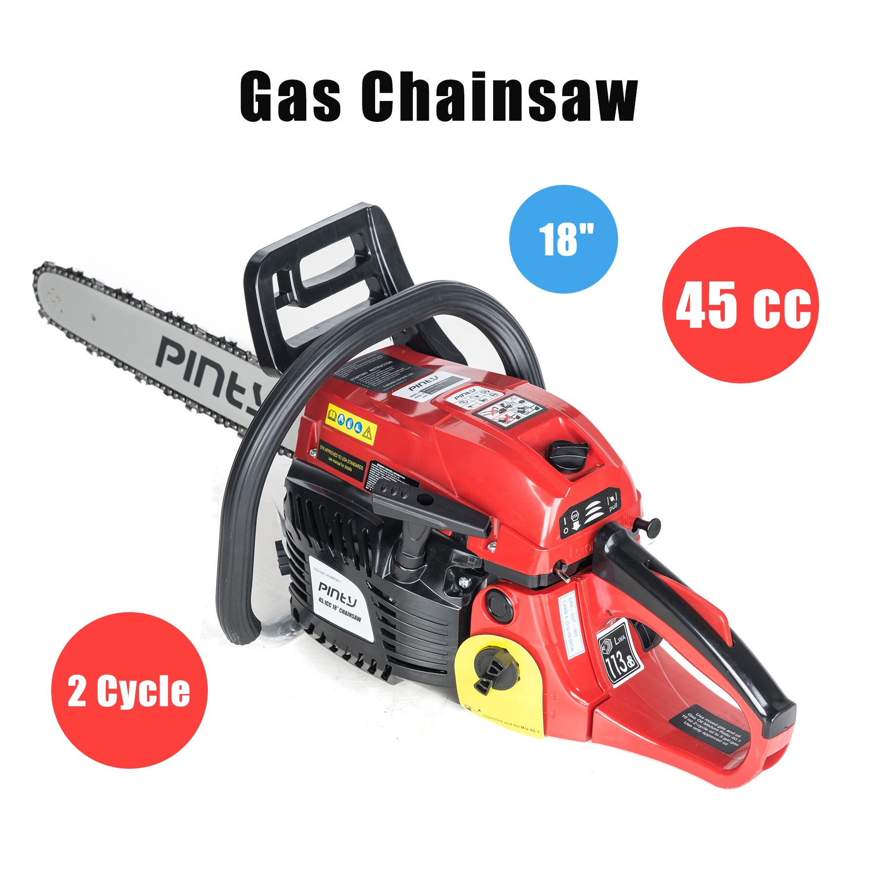 18 in. 45.1 cc Gas Chainsaw Heavy Duty EPA Approved