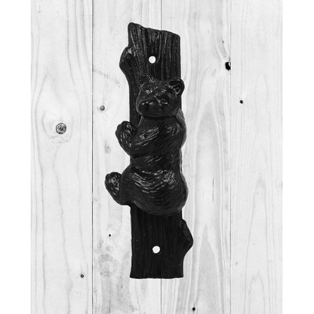 Ebros Gift Rustic Western Forest Black Bear Climbing Tree Cast Iron Door Knocker Figurine Decorative Knockers Themed Bears for Cabin Lodge Mountain Cottage Home Accent Decor Hardware