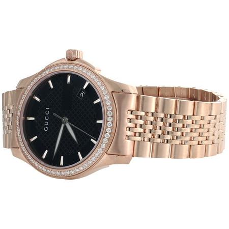 c5a8563a63f Gucci - Ya126402 Diamond Watch Black Dial 38mm Stainless Steel Rose PVD  1.75 Ct - Walmart.com