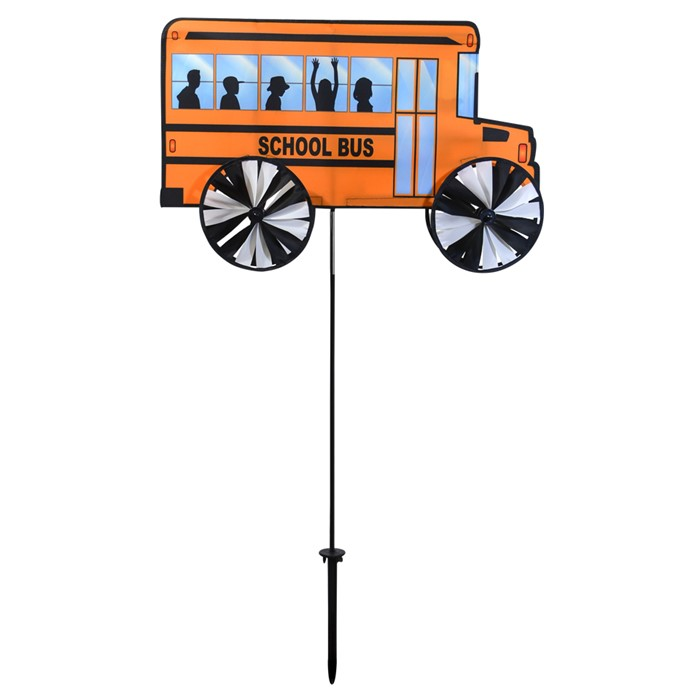 In the Breeze 24 Inch Yellow School Bus Spinner Wind Spinner for Your Yard and Garden by In The Breeze
