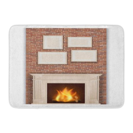 GODPOK Comfort Christmas Classic Fireplace on Brick Wall Hearth Fire Rug Doormat Bath Mat 23.6x15.7 inch ()