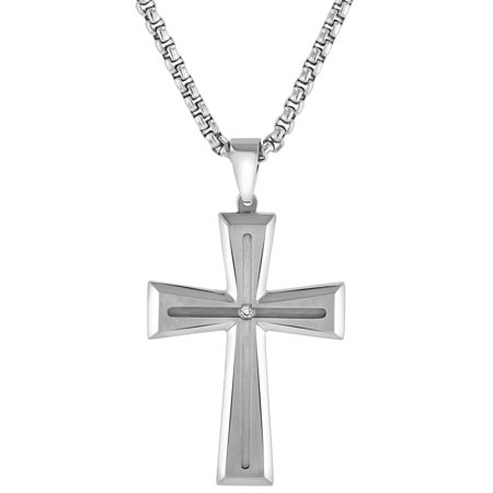 Men's Stainless Steel Diamond Accent Grooved Cross Pendant